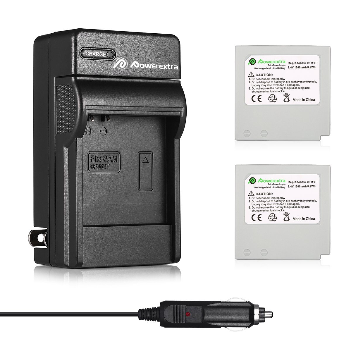2x Replacement IA-BP85ST Battery & Charger Compatible with Samsung BP85ST, IA-BP85NF, VP-HMX08, VP-MX10, VP-MX20, HMX-H100, HMX-H104, HMX-H105, HMX-H106, SC-HMX10, SC-HMX20C, SC-MX10, SC-MX20 SMX-F30 by Powerextra