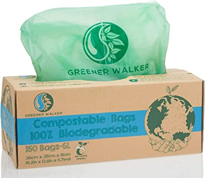 Greener Walker 100% compostable Biodegradable 6L Bolsa Basura ...