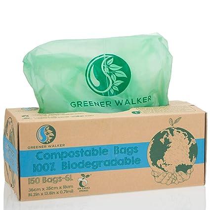 Greener Walker 100% compostable Biodegradable 6L Bolsa Basura Alimentos Cocina Bolsas de basura-150 Bolsas