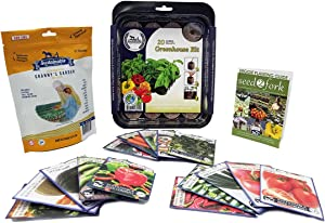 Grannys Garden Heirloom Vegetable Seed Collection - 15 Varieties Non-GMO Heirloom Carrot Cucumber Basil Melon Onion and Tomato Seeds by Sustainable Seed Company (w/Greenhouse)