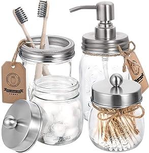 Mason Jar Bathroom Accessories Set 4 Pcs - Mason Jar Soap Dispenser & 2 Apothecary Jars & Toothbrush Holder - Rustic Farmhouse Decor Bathroom Countertop, Vanity Organize, Brushed Nickel (Silver)