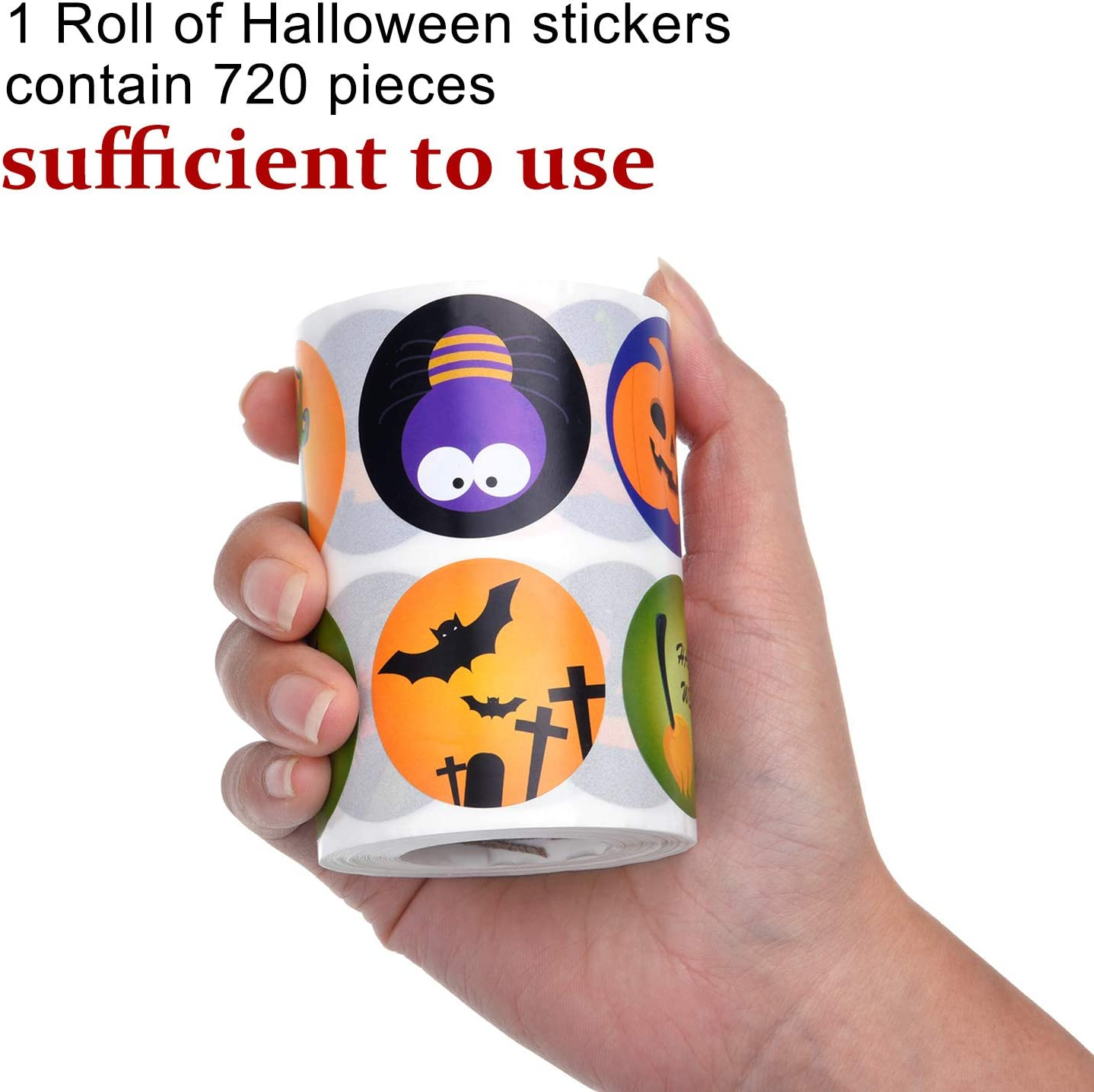Style Set 1 Outus 720 Pieces Halloween Stickers Set Halloween Pumpkin Bats Spiders Witch Print Stickers Roll Decorations for Halloween Party Favors