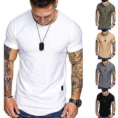 Mens Plain Black Long Sleeve T-shirt Muscle Slim Fit Stretch Cotton Crew Neck