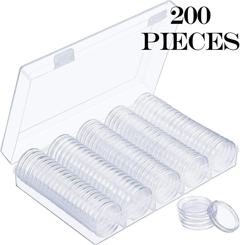 Hicarer Cápsulas de Monedas Redondas Funda de Monedas de Plástico con Caja de Organizador de Almacenaje para Materiales de Colección de Monedas (200 Piezas, 30 mm)