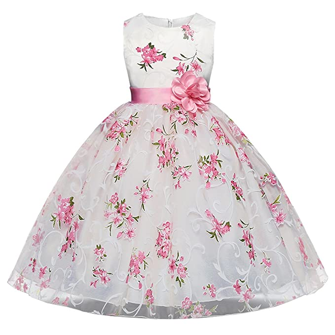 Ankoee Vestido Elegante Boda Fiesta con Flores para Niña Vestido Blanco de Princesa para Chica Dama