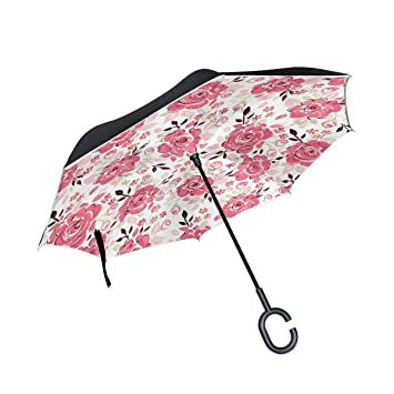 TIZORAX Paraguas Recto de Doble Capa invertido con Diseño de Flores, Color Rosa, con