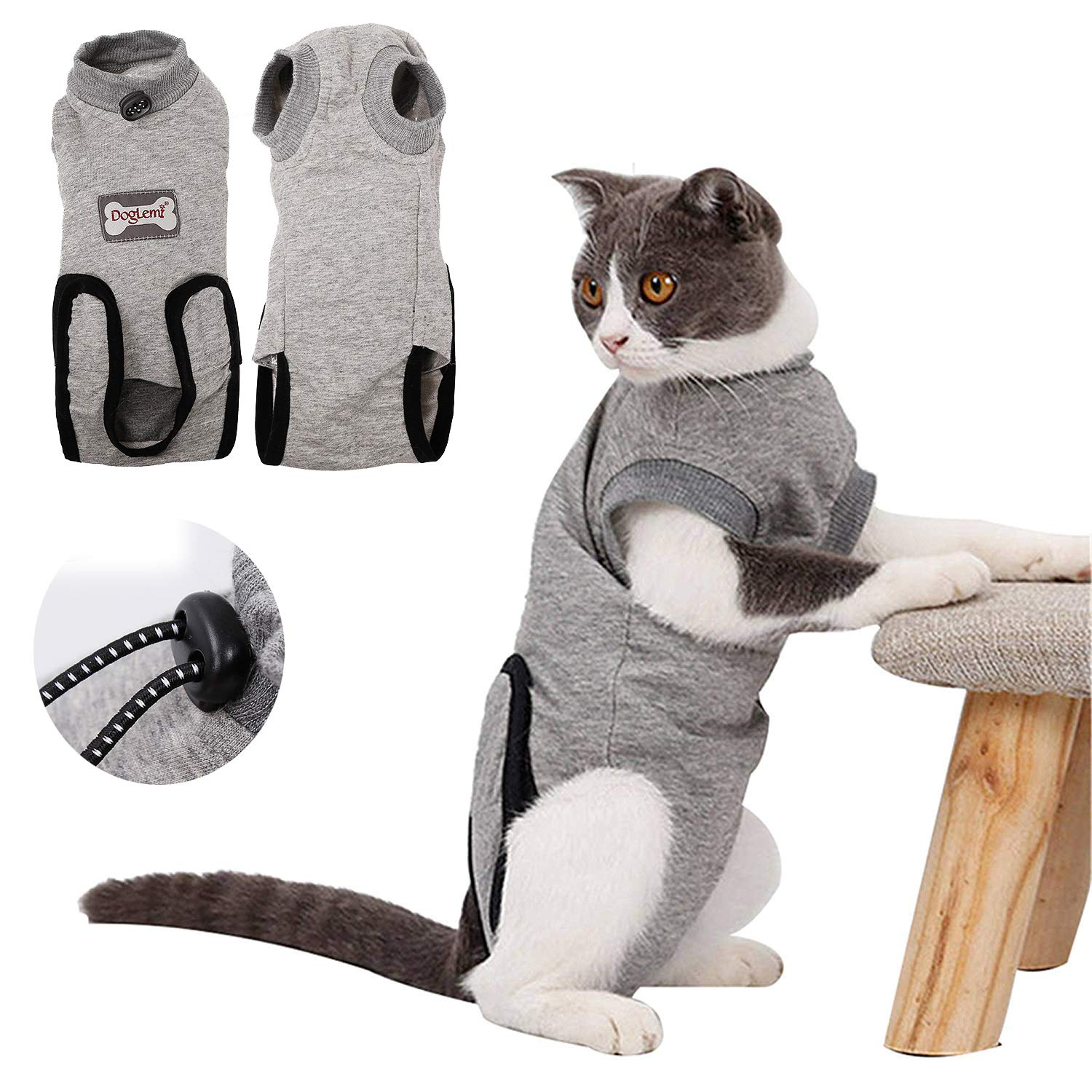 Kismaple Cat Surgery Recovery Suit Cotton Cosy Adjustable Clothes Vest Kitten Costume Suit for Abdominal Wounds, Skin Diseases, Surgical, Anti-Harassment (S)