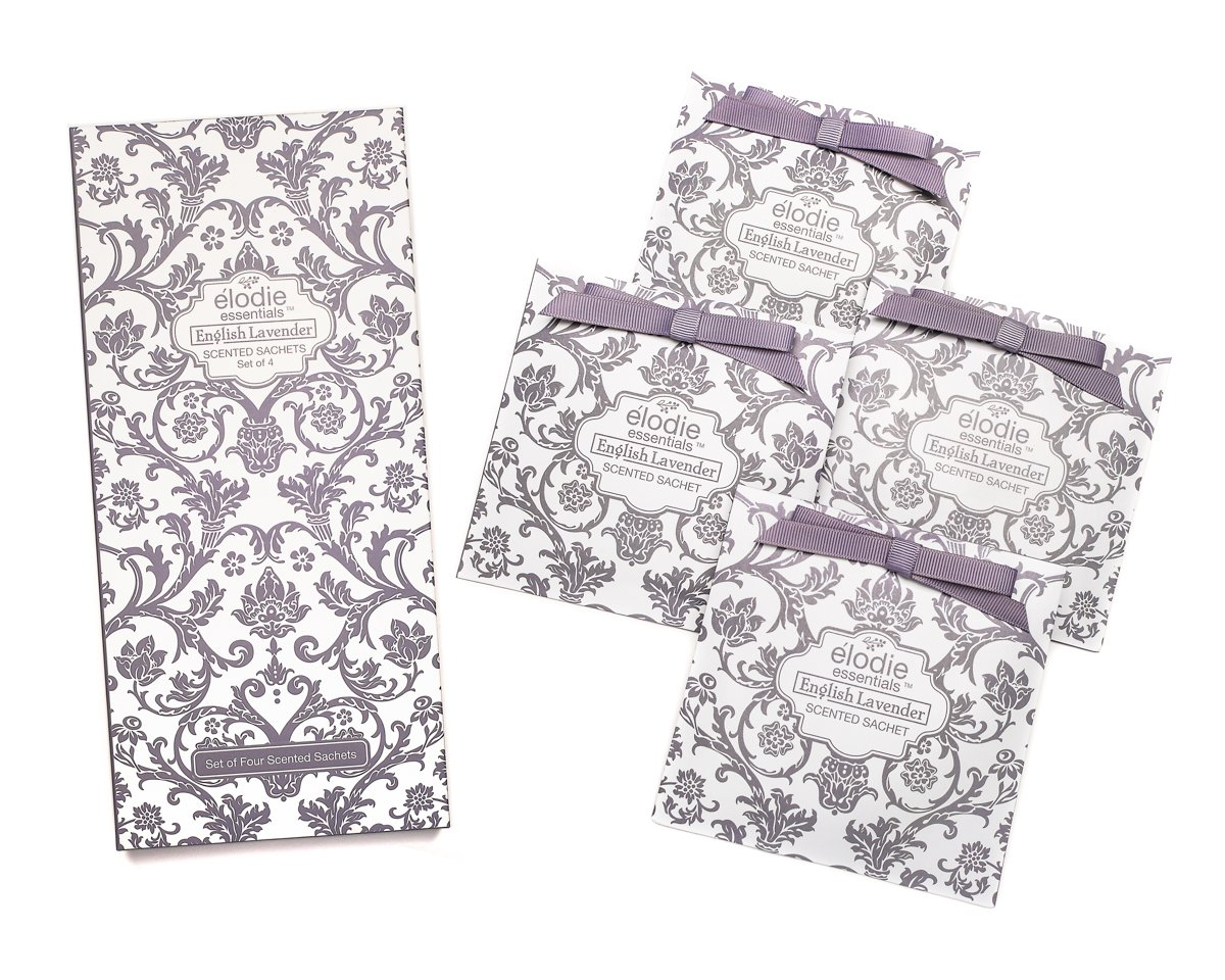 English Lavender Scented Sachets - Set of 4 Large Gift Boxed Sachets for Drawers and Closets - Royal Damask Elodie Essentials EELAVSS-36000-01