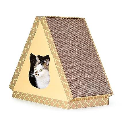 L&XY Triángulo Plano Multi-Color Cat House Papel Corrugado Gato Scratch Board Protección del Medio