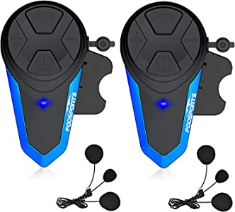 Motorcycle Helmet Intercom, Fodsports BT-S3 Type-C Port 1000m Motorcycle Bluetooth Headset Intercom Wireless Interphone to 2-3 Riders (Waterproof/Handsfree/Stereo Music/FM/GPS/MP3/2 Pack Soft Mic)