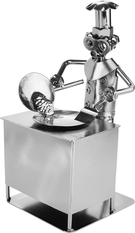 BRUBAKER Tornillo Hombre Cocinero - Figura de Hierro Artesanal Hombre Cocina - Figura de Metal Idea de Regalo para Maestros y Aficionados a la Cocina