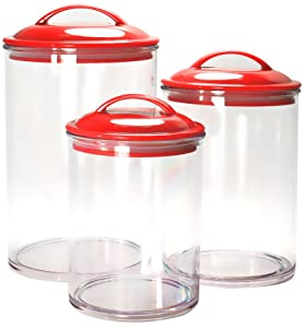 Calypso Basics by Reston Lloyd Acrylic Storage Canisters, Set of 3, Red