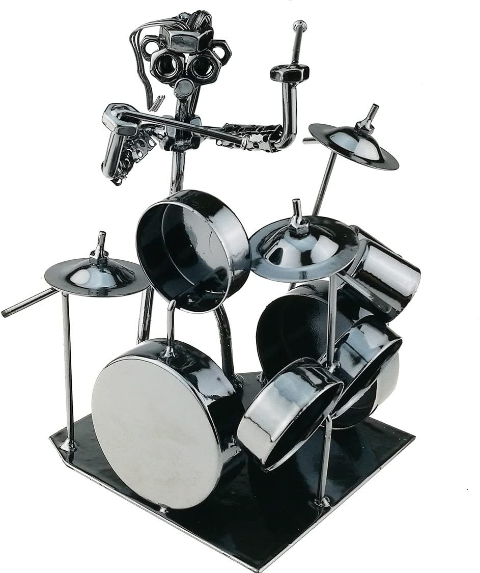 Winterworm Modern Musician Drummer Band Metal Statues Ornament for Home Office Decoration Birthday Gift Collection(44-991)