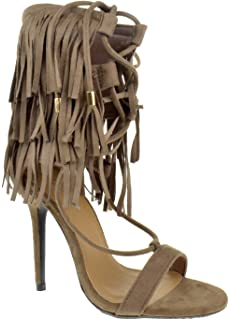 b0ac3e220ce2 Nayeli 27 Womens Fringe Open Toe High Heel Sandals Tan