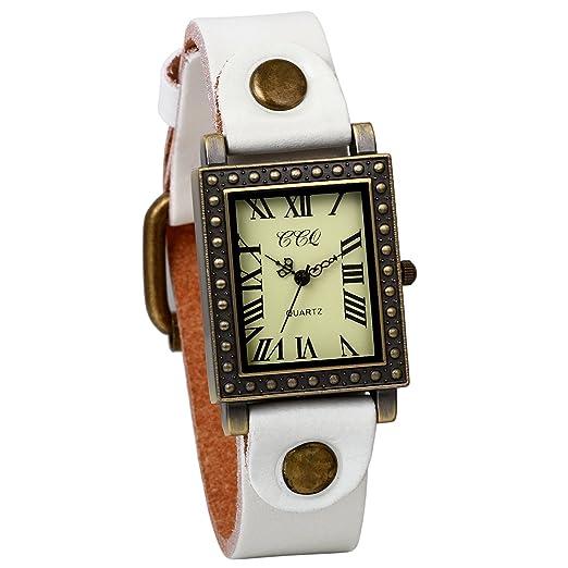 JewelryWe Relojes de Mujer Moda 2016, Blanco Reloj de Pulsera Cuadrado de Estilo Retro Vintage Punk, Correa de Cuero Ultra Fino, Regalo Original para ...
