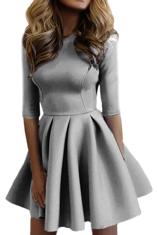 Women Casual Scoop Neck 3/4 Sleeve Slim Sweater Skater Swing Mini Dress CAQZ1888