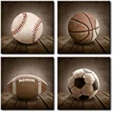Wall26 - 4-Pack Baseball Basketball Football and Soccer Rustic Square Sport Panels - Celebrating American Sports Traditions - Canvas Art Home Decor - 12x12 inches