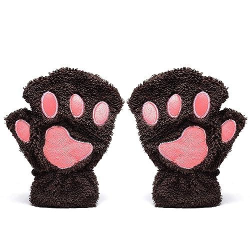 Odema Guantes sin Dedos de Invierno en Forma de Pata de Gato para Mujer