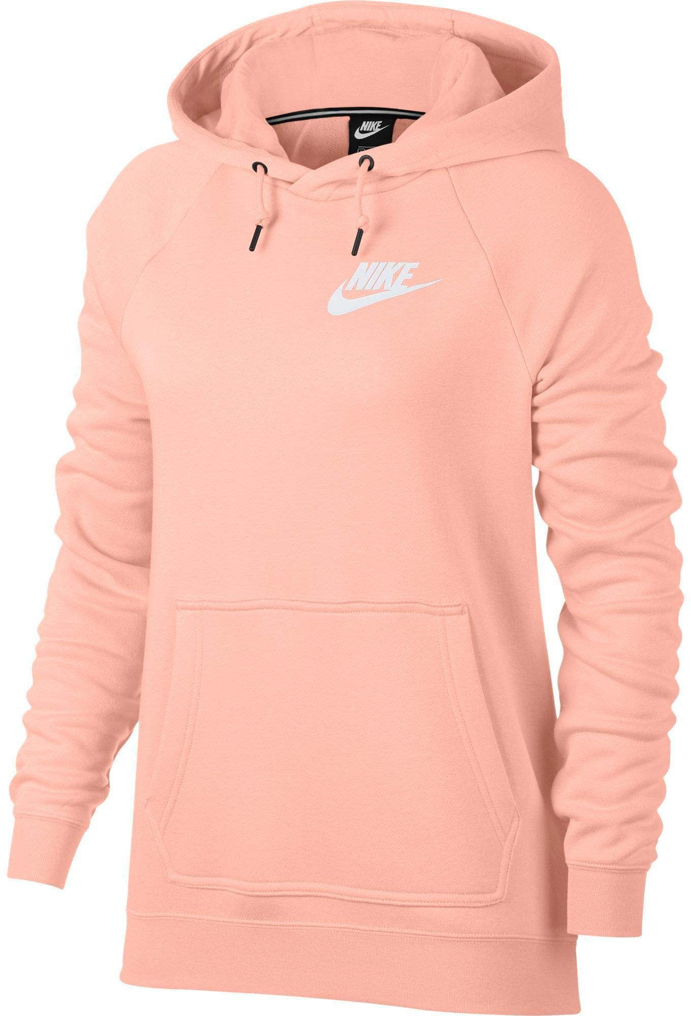 Nike Womens Rally Pull Over Hoodie Storm Pink/Heather/Sail AJ6315-646-Size X-Small