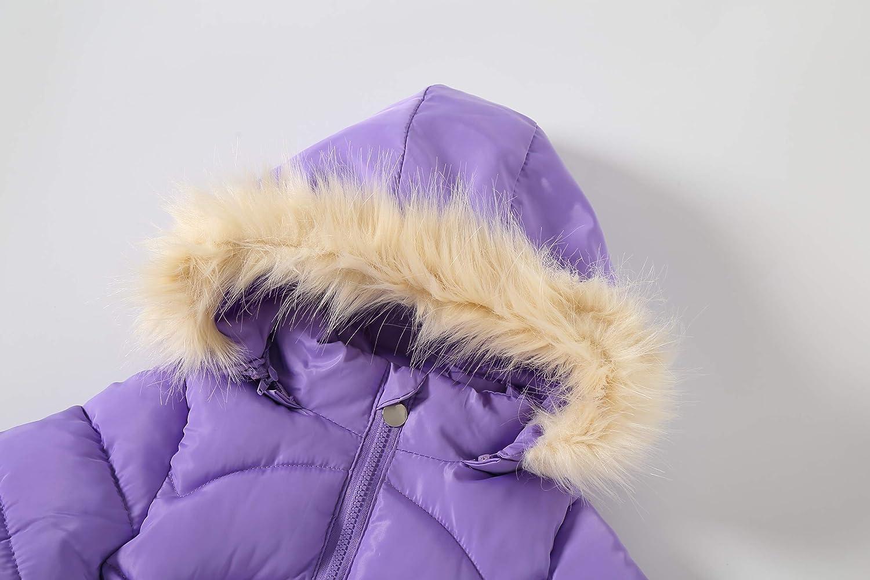 IRELIA Winter Girls Parka Coat Fur Hooded Overcoat Padded