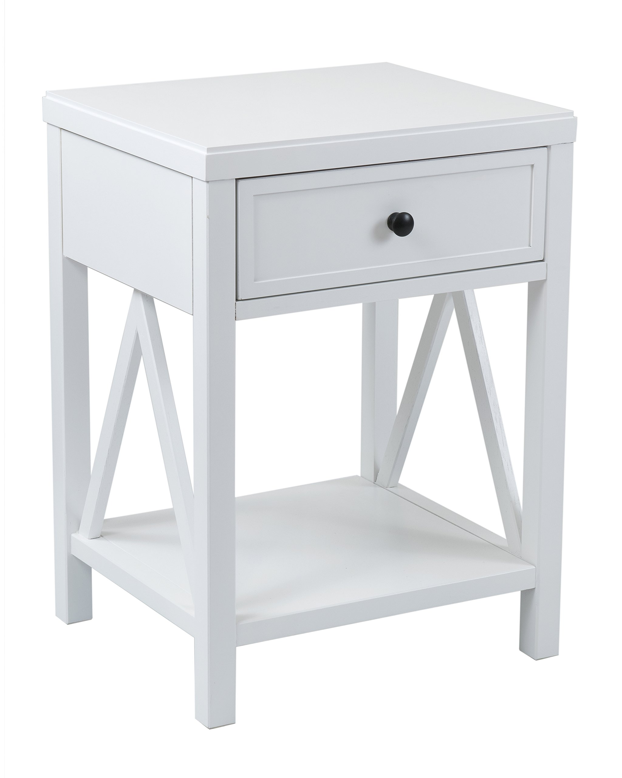 East at Main Wilcox Acacia Wood Square Accent Table, White, (15'' L x 17'' W x 23'' H)