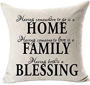 Andreannie Nordic Simple Warm Sweet Black Home Family Blessing Cotton Linen Throw Pillow Case Personalized Cushion Cover New Home Office Bay Window Decorative Square 18 X 18 Inches