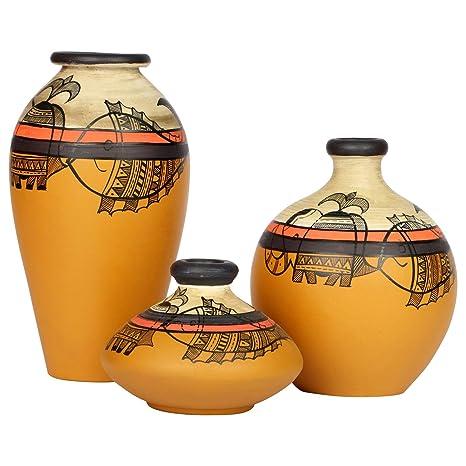 Buy Artysta Terracotta Earthen Vases For Home Decor