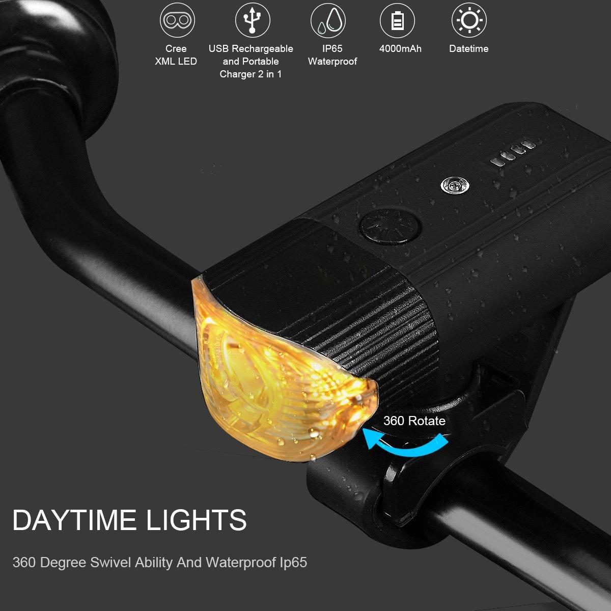 ebc2bd356c7 shenkey Bike Lights USB Rechargeable   2018 Updated   Bicycle light + Power  Bank (4000mAh ...