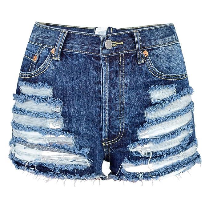 Amazon.com: Pantalones cortos de mezclilla para mujer con ...