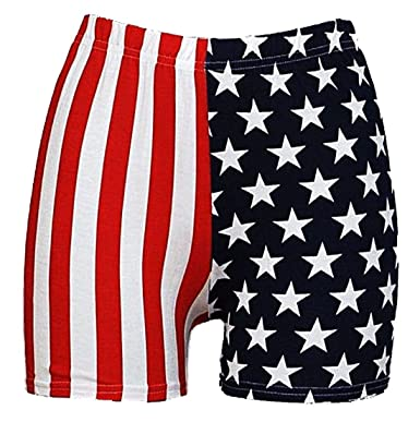DIGITAL SPOT Womens American Flag Star and Stripe Printed Shorts Ladies USA  Flag Hot Pants UK e45e4036d3