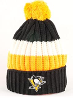83c6221a Pittsburgh Penguins NHL American Needle Slope Knit Striped Cuffed Pom hat