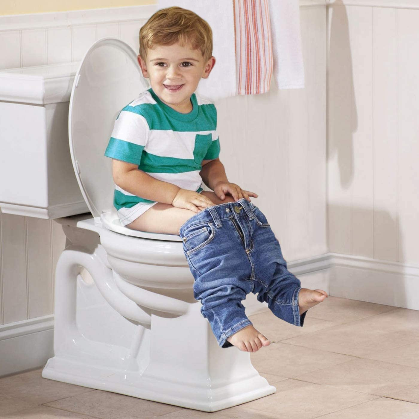 Space Saving Solution For Kids Potty Training Easy To Install Convertible Toilet Seat Potty Training Seat Ideal 2 in 1 Toilet Seat For Toddlers /& Adults Elongated White Free Soap Holder Included