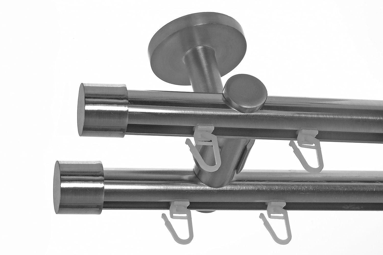 Innenlauf Gardinenstange Edelstahl Look 20mm Deckenbefestigung, 2-läufig Kappe, Länge wählbar D40 E30E30, Länge 600 cm