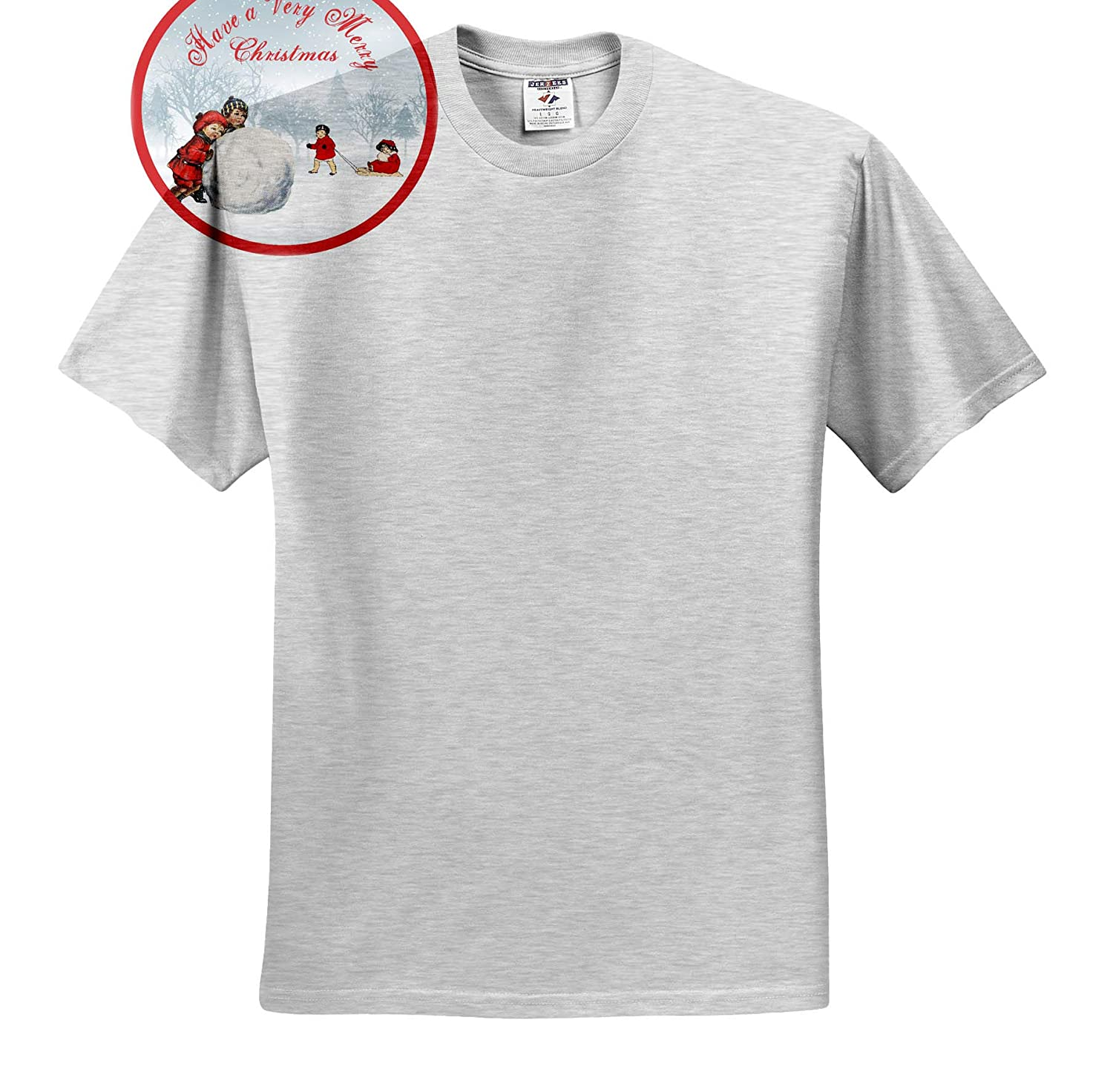 Nostalgic Christmas Children Playing in The Snow 3dRose TNMGraphics Christmas T-Shirts