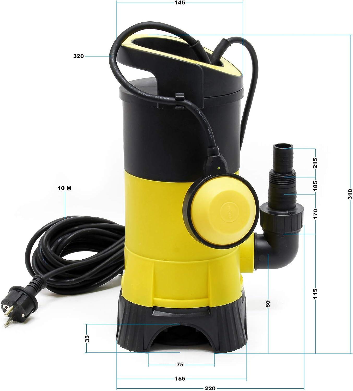 F/örderh/öhe 5m Schmutzwasserpumpe 7.500l//h max 400W Fremdk/örper bis /Ø35mm
