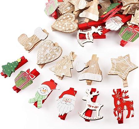 Accessori Natale.50 Pezzi Natale Addobbi Accessori Wooden Peg Mollette In Legno Per Foto Carta Absofine Amazon It Casa E Cucina