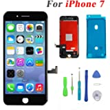 Screen Replacement for iPhone 7 LCD Display and Touch Screen Digitizer Replacement Full Assembly with Repair Tool Kit(Black, 4.7Inch, for iPhone 7)