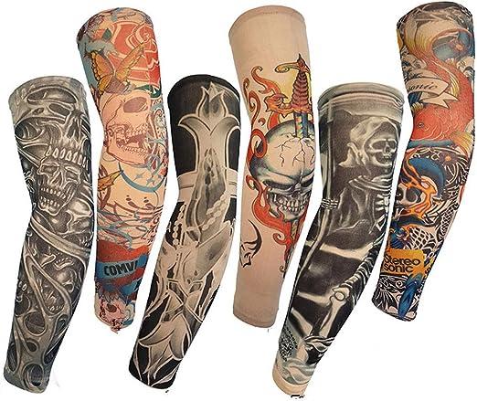 Mzqaxq Tattoo Sleeve 6 Paquetes Unisex Ciclismo Sombrilla Brazo ...