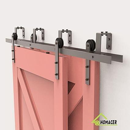 Homacer Sliding Barn Door Hardware Bypass Double Door Kit, 9FT Flat Track  U Shape
