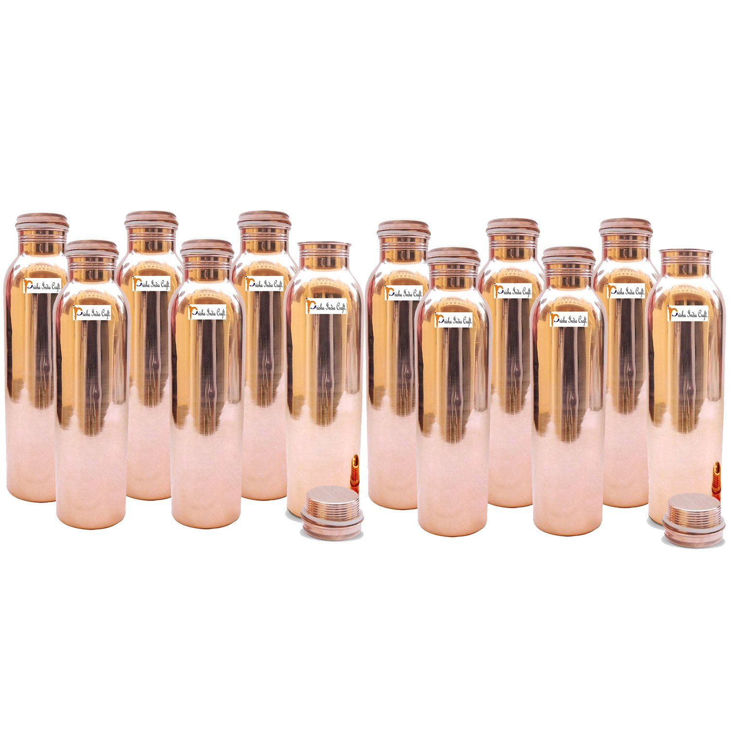 1150ml / 38.89oz - Set of 12 - Prisha India Craft ® Pure Copper Water Bottle for Health Benefits - Water Bottles Joint Free, Handmade - Christmas Gift