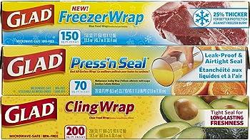 3-Pack Glad Plastic Pressn Seal Food Wrap Variety Pack