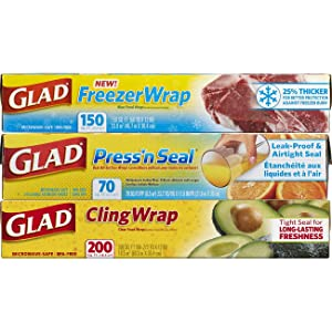 Glad Plastic Food Wrap Variety Pack - Press'n Seal Wrap - FreezerWrap - ClingWrap - 3 pack