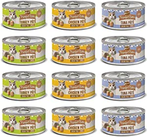 Merrick Purrfect Bistro Pate Canned Cat Food Variety Pack (3 Ounces) - Chicken, Tuna, and Turkey (12 Pack)