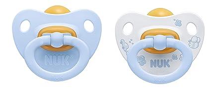 Nuk Classic - Pack de 2 chupetes fisiológicos de látex T1, color azul