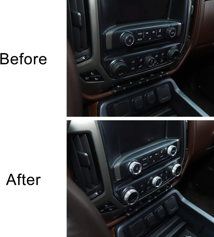 Silver 8pcs Aluminum Alloy Voodonala for Silverado Radio AC Knobs Air Conditioner Switch Button for 2014-2017 Chevy Silverado