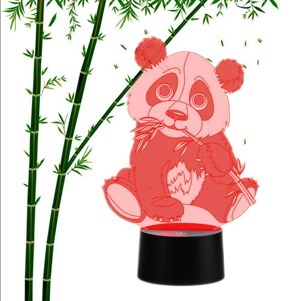 3D Illusion Lamp Animals Panda Night Light Touch Table Desk Lamps 7 Color Changing LED Lights Animal figure Table Lamp Childrenroom Theme Decoration and Kiddie Family Holiday Gift (Panda)