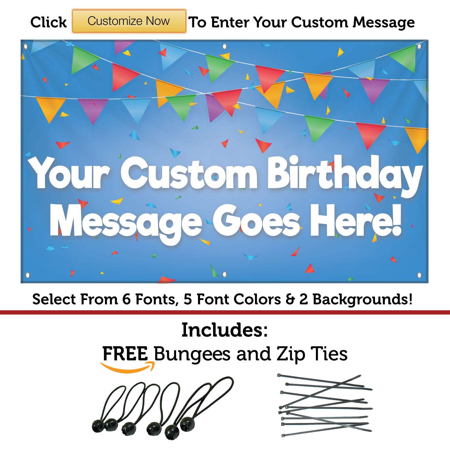HALF PRICE BANNERS |Custom Birthday Decorations Vinyl Banner-Indoor/Outdoor 3X5 foot-Blue| Includes Ball Bungees & Zip Ties|Easy Hang Sign-Made in USA