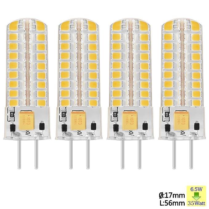 Sunix 6.5W GY6.35 LED Ampoules, 72 2835 SMD LED, 320lm, Dimmable, Blanc Chaud, 3000K, 360 Degrés Angle de Faisceau, Ampoule de projecteur de silicone, Paquet de 4 unités [Classe énergétique A] SU13