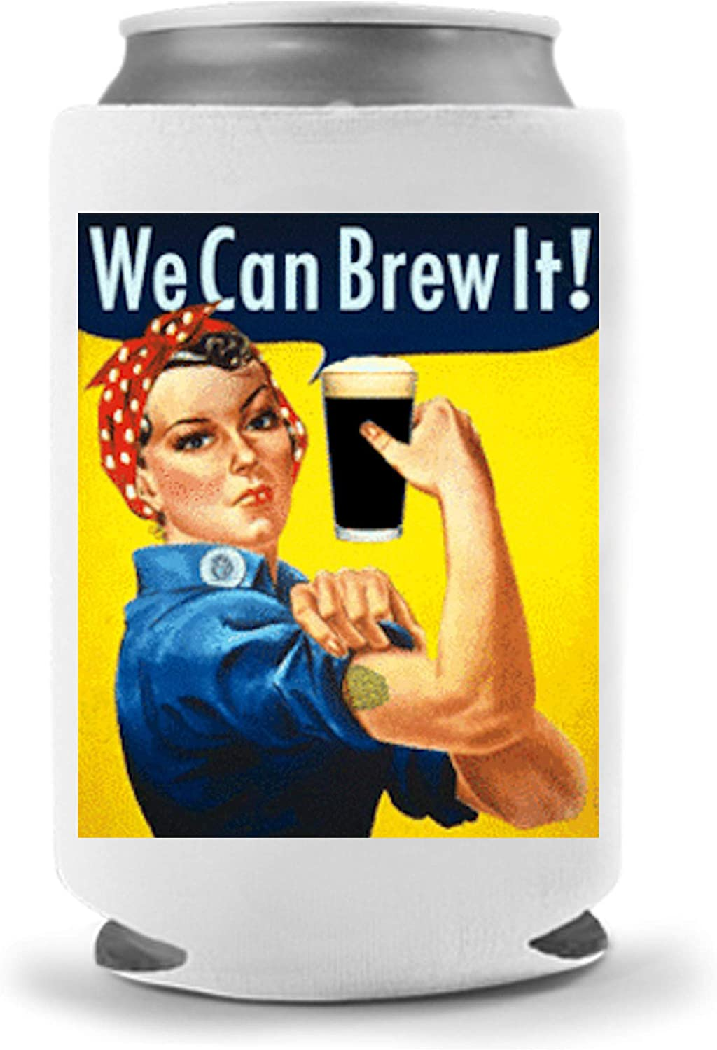 Rosie The Riveter We Can Brew It | Funny Novelty Can Cooler Coolie Huggie | Beer Beverage Holder - Beer Gifts Home - Quality Neoprene No Fade Can Cooler Single