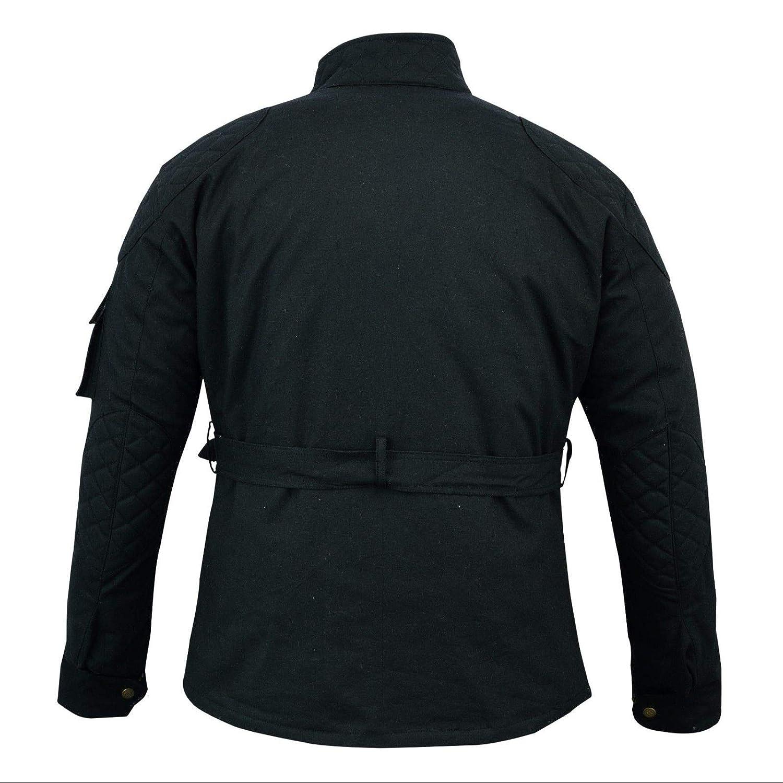 Cera de algod/ón encerado para motocicleta chaqueta de motociclista con forro WP motocicleta color negro